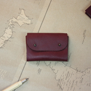 LEATHER NAME CARD CASE ver. BURGUNDY